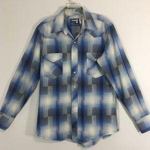 Vtg Wrangler Pearl Snap Western Shirt 15.5 X34